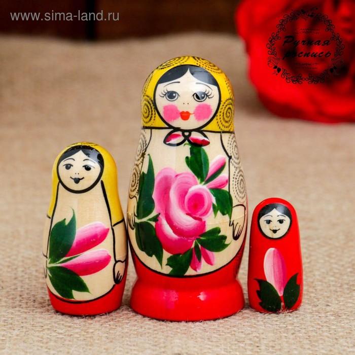 Матрёшка «Семёновская», 3 кукольная, 7 см, люкс