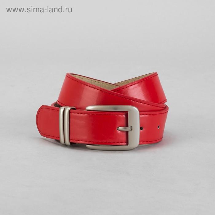 Ремень женский, винт, пряжка, хомут под металл, ширина - 3,5см, красный