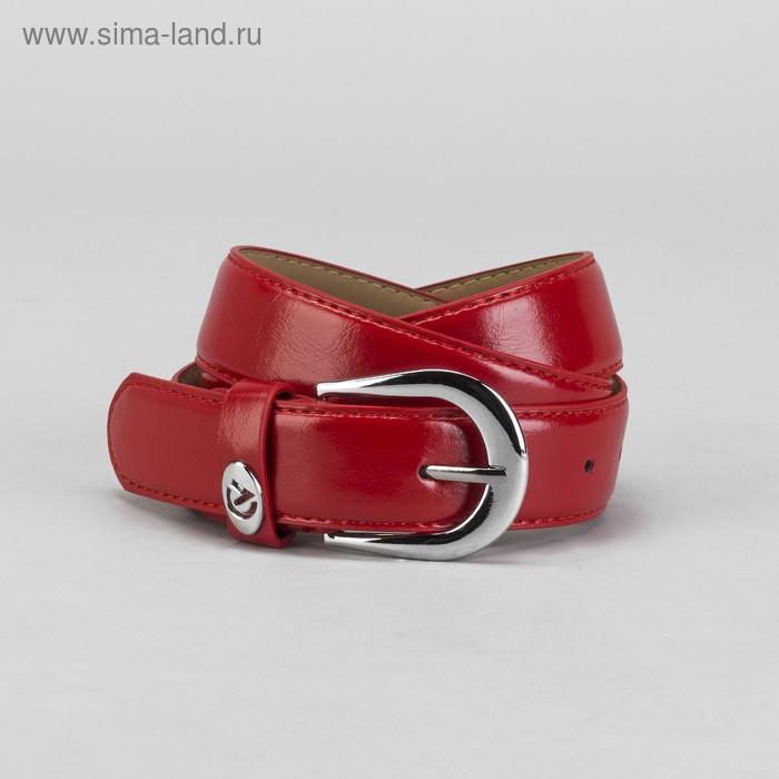Ремень женский, винт, пряжка под металл, ширина - 3,5см, красный