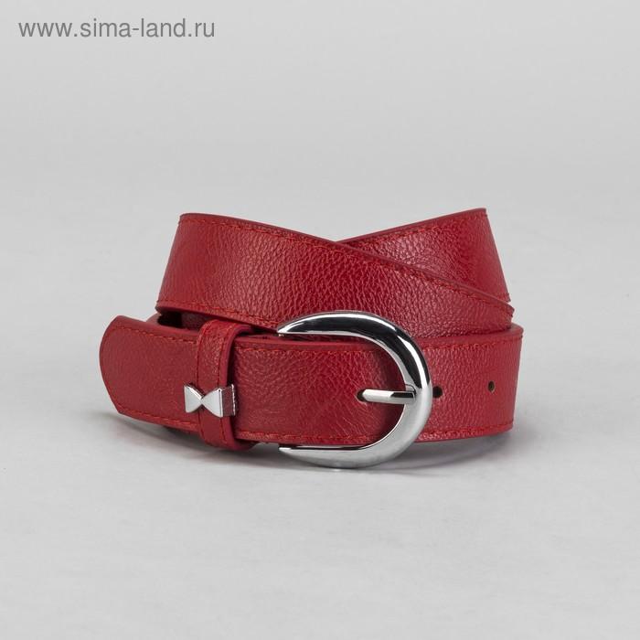 Ремень женский, винт, пряжка, хомут-бантик под металл, ширина - 3,5см, красный