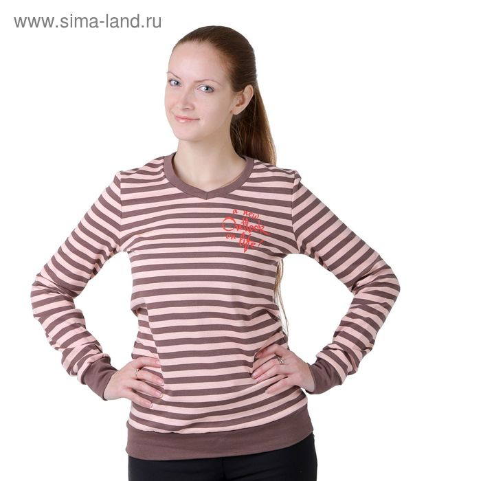 Джемпер женский Р827212 розовый/полоса, рост 158-164 см, р-р 42