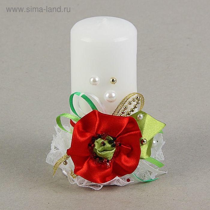 Свеча ручной работы «Маков цвет», красно-белая