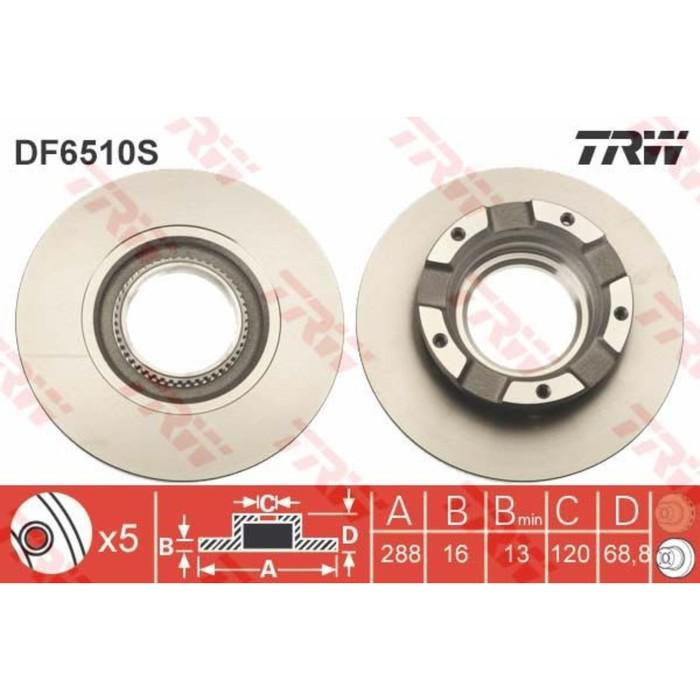 Диск тормозной TRW DF6510S