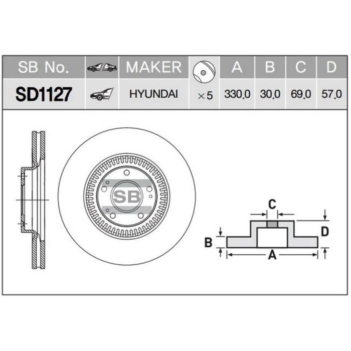 Диск тормозной SANGSIN SD1127