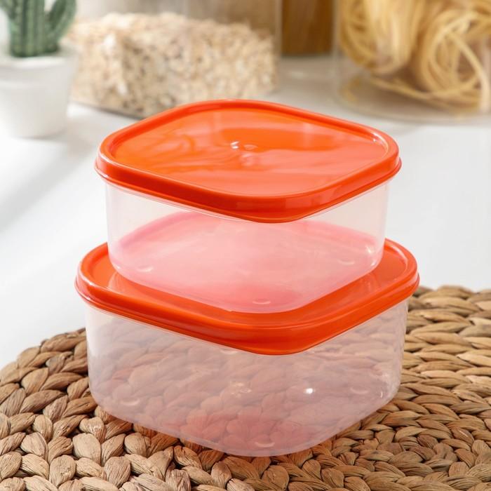 Set of food container, 2 PCs: 450 ml, 700 ml, colour orange
