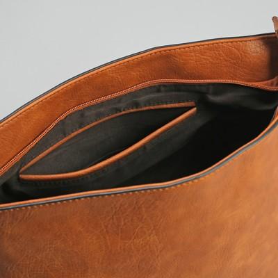 Сумка женская, отдел на молнии, регулируемый ремень, цвет коричневый