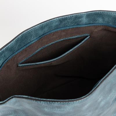 Сумка женская, отдел на молнии, регулируемый ремень, цвет морской волны
