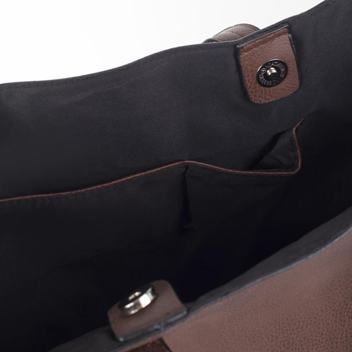 Сумка женская на кнопке, 1 отдел с расширением, цвет коричневый