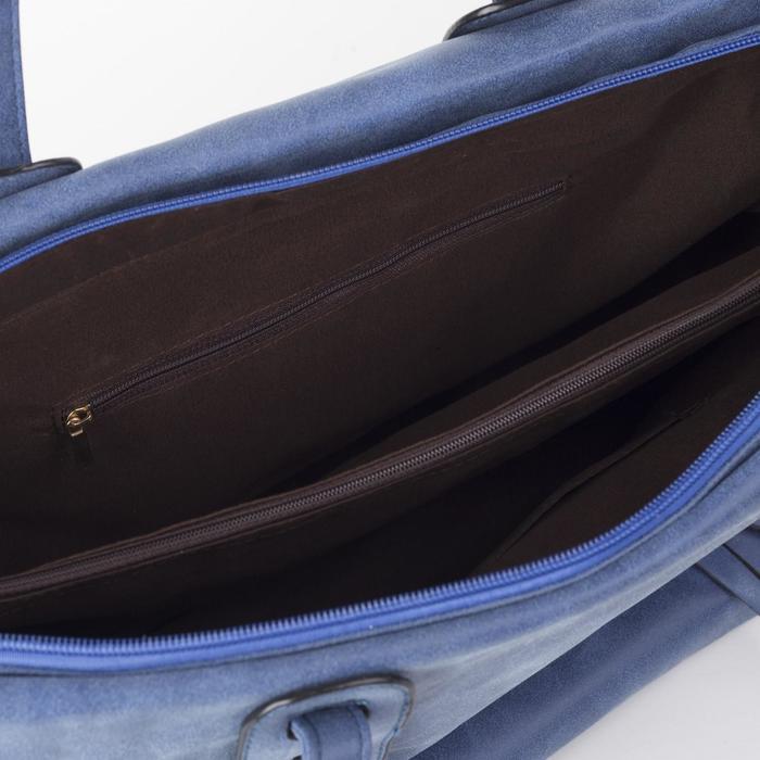 Сумка женская на молнии, 1 отдел с перегородкой, цвет синий