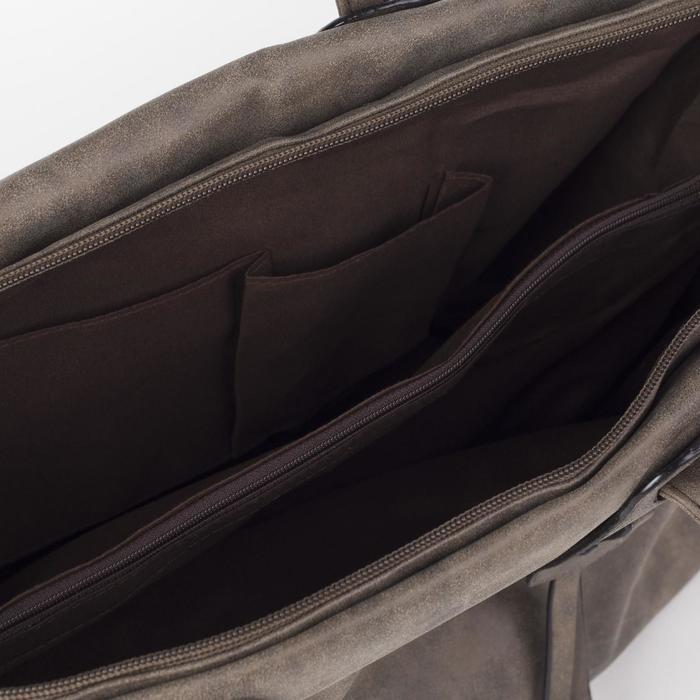 Сумка женская, отдел на молнии с перегородкой, цвет коричневый