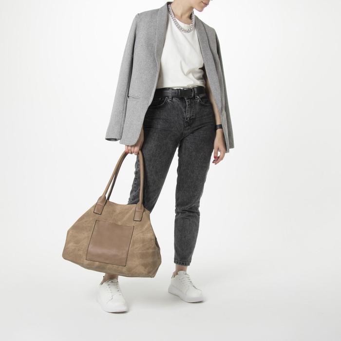 Сумка женская, отдел на молнии, 2 наружных кармана, цвет бежевый