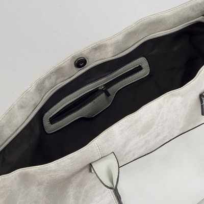 Сумка женская, отдел на молнии, 2 наружных кармана, цвет серый