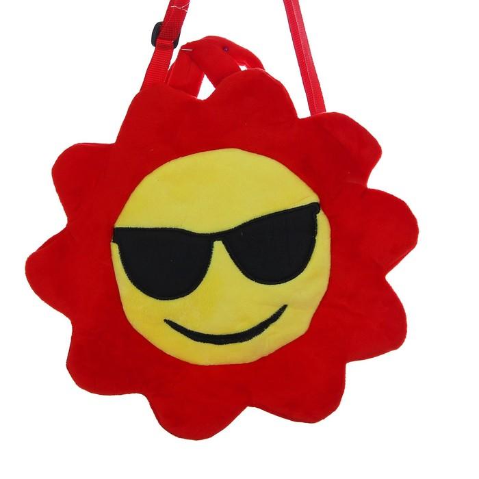 Мягкая сумочка «Смайлик в очках», красная окантовка