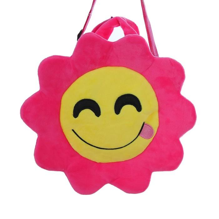 Мягкая сумочка «Смайлик с языком», розовая окантовка