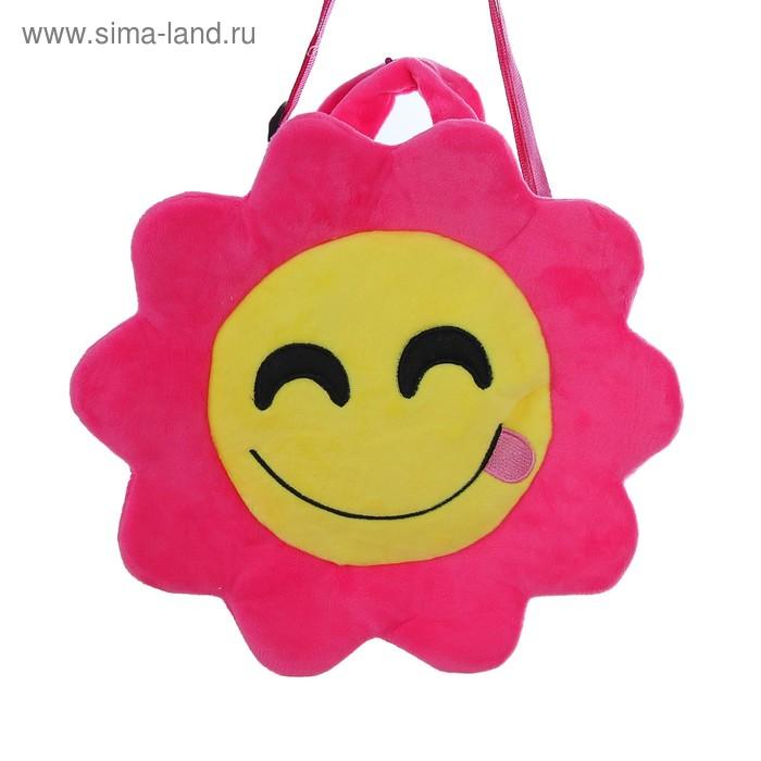 """Мягкая сумочка """"Смайлик с языком"""" розовая окантовка"""