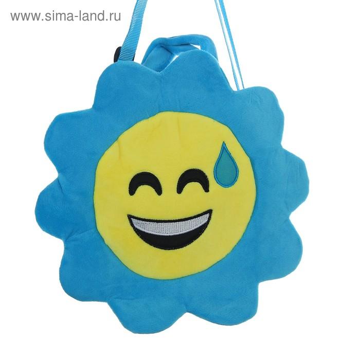 """Мягкая сумочка """"Улыбчивый смайлик"""" синяя окантовка"""