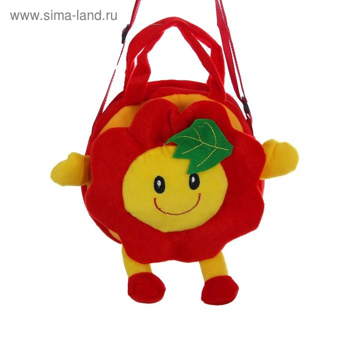 """Мягкая сумочка """"Цветочек"""" с листочком, красный цвет"""
