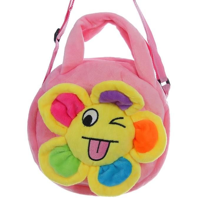 Мягкая сумочка «Цветочек», подмигивает, розовая основа