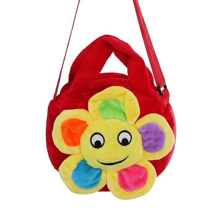 Мягкая сумочка «Цветочек», улыбается, красная основа