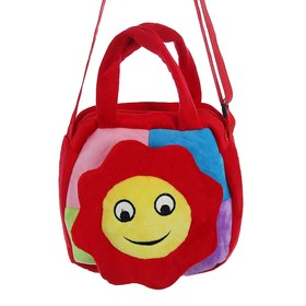 Мягкая сумочка «Цветочек», улыбается, на красном