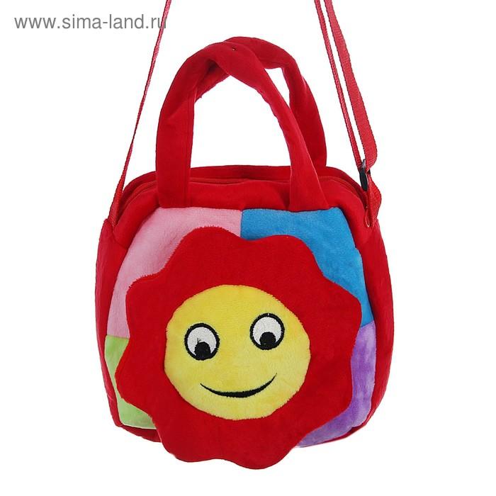 "Мягкая сумочка ""Цветочек"" улыбается, на красном"