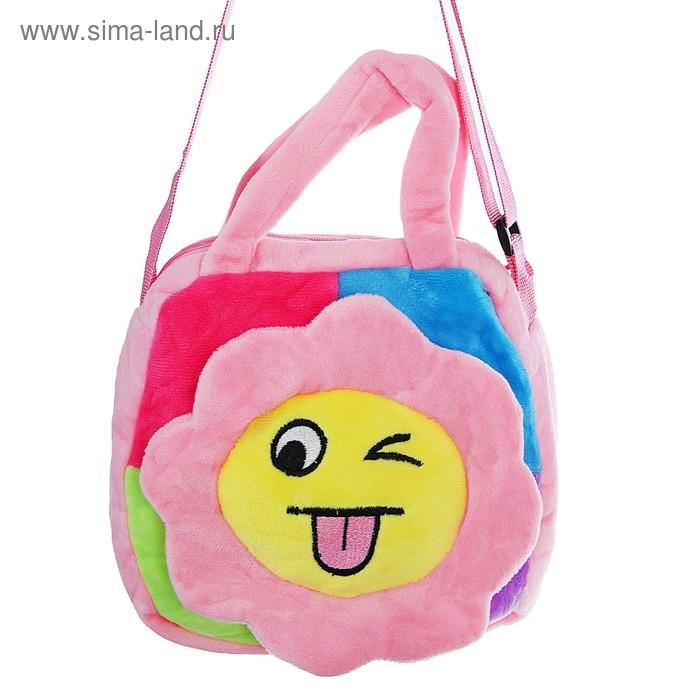 """Мягкая сумочка """"Цветочек"""" подмигивает, на розовом"""
