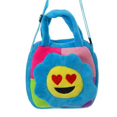 """Мягкая сумочка """"Цветочек"""" с сердечками, на синем"""