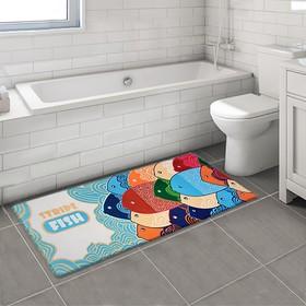 "Bath Mat ""school of fish"""