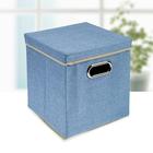 Короб для хранения с крышкой «Офис», 29×29×30 см, цвет голубой - фото 308331814