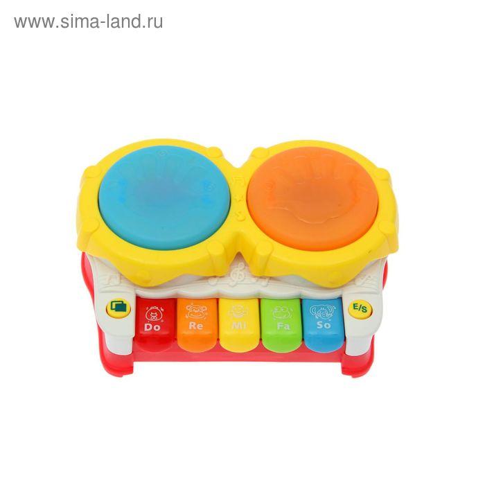 """Игрушка музыкальная """"Барабаны"""", работает от батареек в пакете"""