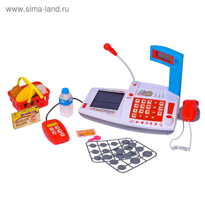 """Касса-калькулятор""""Мои покупки""""с микрофоном терминалом д/приема карточек с аксесс. в пакете"""
