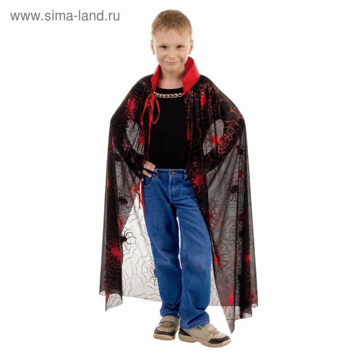 """Carnival cloak """"Web with red spider"""", the stand-up collar with gold chain, length 100 cm"""