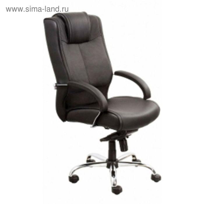 Кресло руководителя Verona Steel Chrome PU01 черный, ЭкоКожа