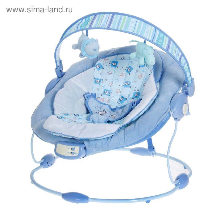 """Детское кресло-качалка """"Овал"""" музыкальное, вибрация на батарейках, цвет голубой, в пакете"""