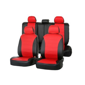 """Covers universal """"Arigon"""", faux leather, set, black and red"""