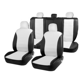 """Covers universal """"Arigon"""", faux leather, set, black and white"""