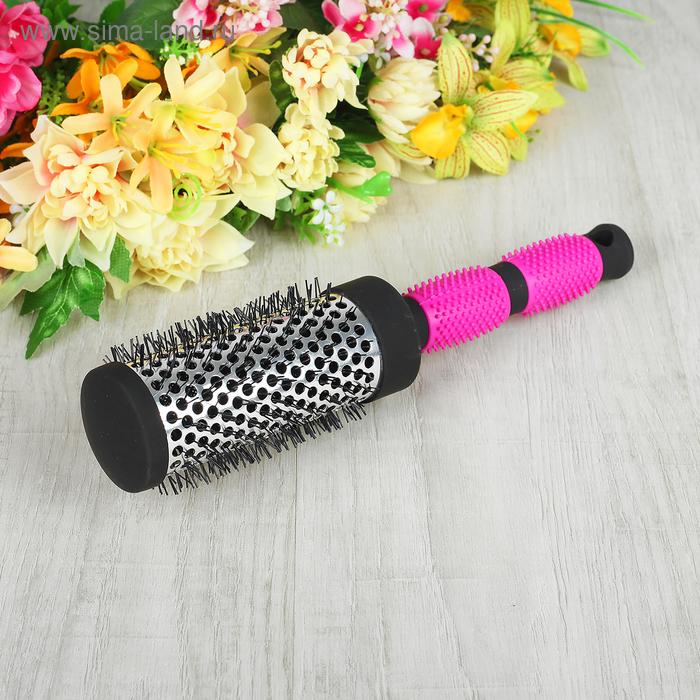 Брашинг с прорезиненной ручкой, d=4,5/5,5см, цвет чёрный/розовый