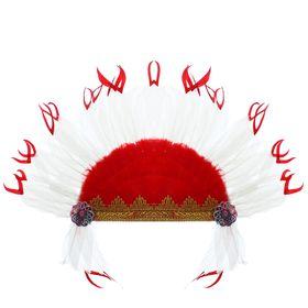 Карнавальный головной убор «Индеец», на резинке, красно-белое перо Ош