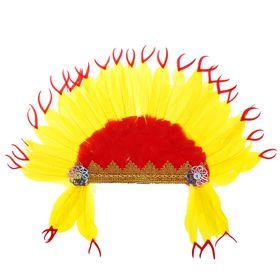 Карнавальный головной убор «Индеец», красно-желтое перо Ош