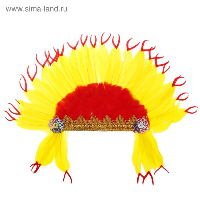 """Карнавальный головной убор """"Индеец"""" красно-желтое перо"""
