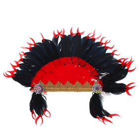 Карнавальный головной убор «Индеец», красно-чёрное перо Ош