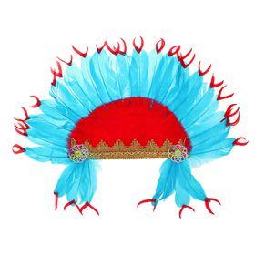 Карнавальный головной убор «Индеец», красно-синее перо Ош