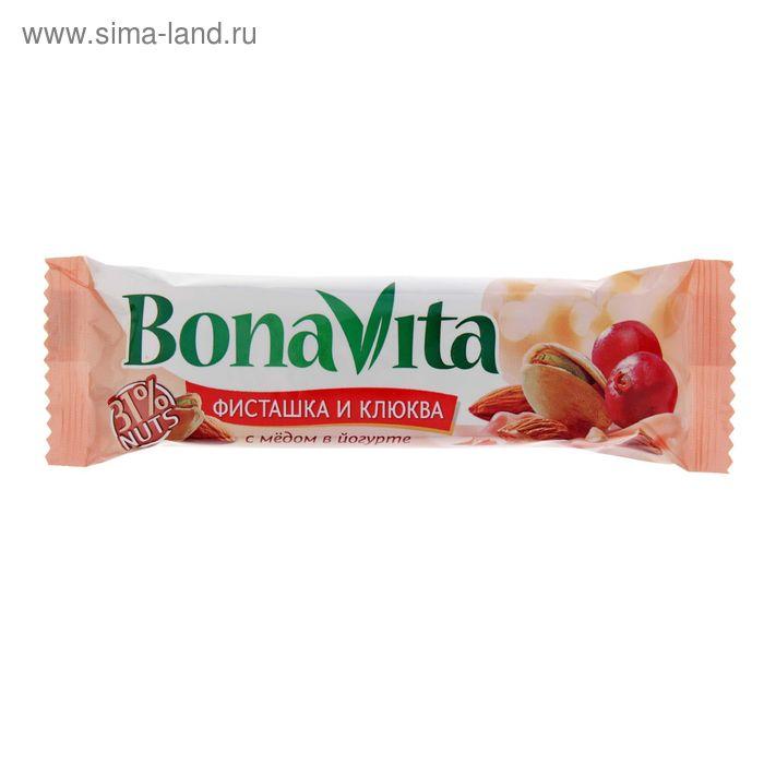 """Батончик ореховый """"Бона Вита"""" фисташтка, клюква и мед в йогурте 35г/24шт"""