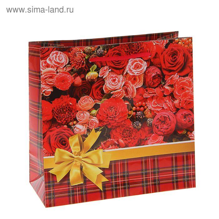 """Пакет подарочный """"Цветник"""" 16 х 16 х 7,6 см"""