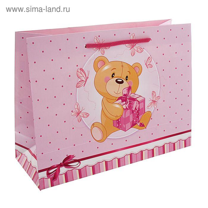 """Пакет подарочный """"Пушистик"""" розовый 32,5 x 24,5 x 12 см"""