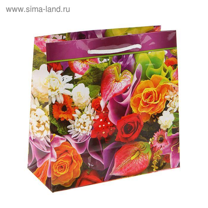 """Пакет подарочный """"Соцветие"""" 23 х 22,5 х 10 см"""