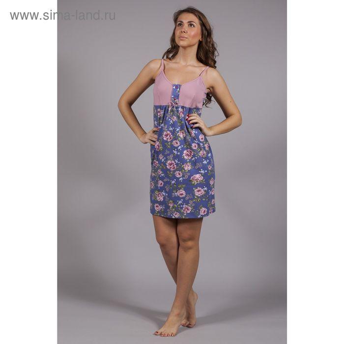 Сорочка с застёжкой, цвет синий/розовый, принт розы, рост 164, размер 52