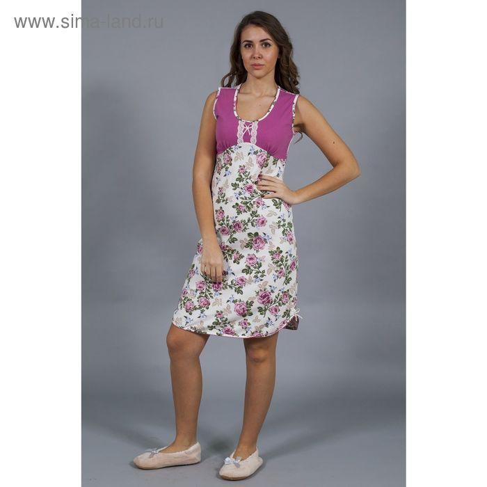 Сорочка женская Уютный дом №16 6.924, розы на экрю, рост 164 см, р-р 50 (100)