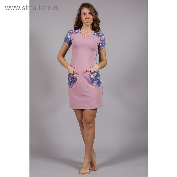 Сорочка женская Уютный дом №3 6.507, розы на синем, рост 164 см, р-р 40 (80)
