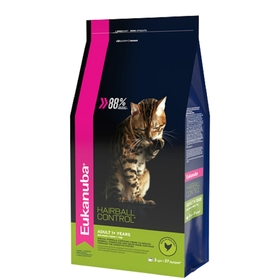 "Сухой корм EUK Cat ""Хэйр болл"" для домашних кошек, для вывода шерсти, птица, 2 кг"